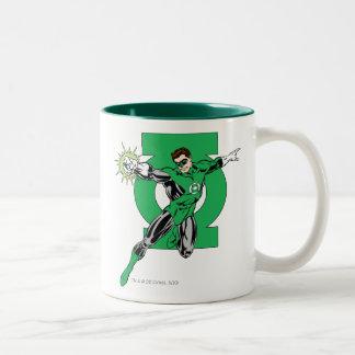 Linterna verde con el fondo del logotipo taza de café