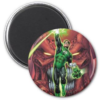 Linterna verde con la corriente del color claro imán redondo 5 cm