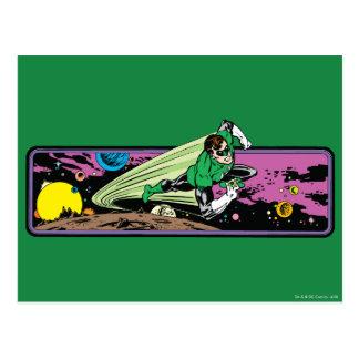 Linterna verde en espacio tarjeta postal
