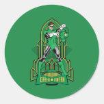 Linterna verde en fondo decorativo etiqueta
