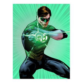 Linterna verde y anillo que brilla intensamente tarjetas postales