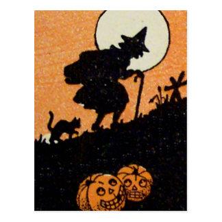 Linterna Witching de Jack O del gato negro de la Tarjeta Postal