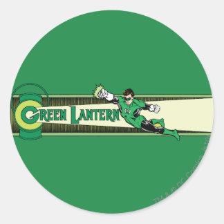 Linterna y logotipo verdes pegatina redonda