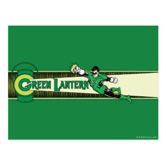 Linterna y logotipo verdes tarjetas postales