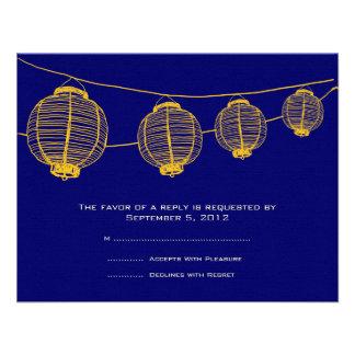 Linternas amarillas y azules que casan RSVP Invitación