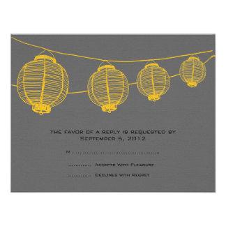 Linternas amarillas y grises que casan RSVP Comunicado Personal