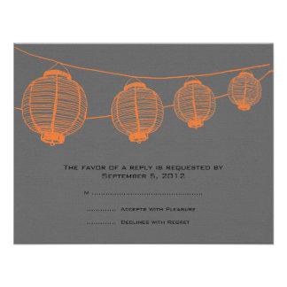 Linternas anaranjadas y grises que casan RSVP Anuncio