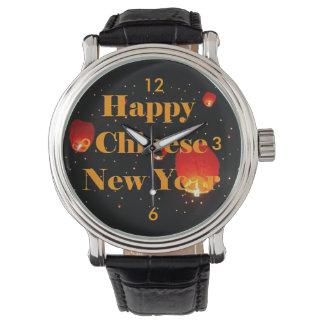 Linternas chinas felices del día de fiesta del Año Relojes