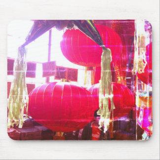 Linternas chinas rojas tapete de raton