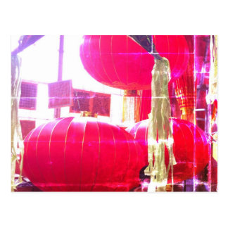 Linternas chinas rojas tarjetas postales