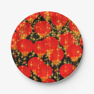 Linternas chinas plato de papel 17,78 cm