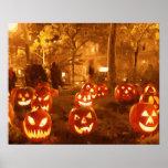 Linternas de Jack O del feliz Halloween Póster