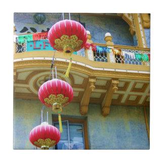 Linternas de la ciudad de China Azulejo Cuadrado Pequeño