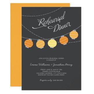 """Linternas de papel anaranjadas de la cena el   del invitación 5"""" x 7"""""""