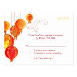 Linternas de papel asiáticas lindas que casan RSVP Postal