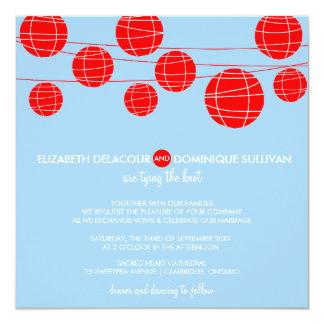 """Linternas de papel azules y rojas que casan la invitación 5.25"""" x 5.25"""""""