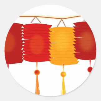 Linternas de papel chinas pegatina redonda