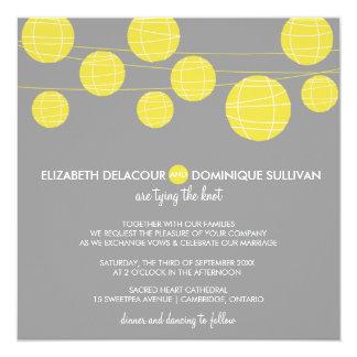 """Linternas de papel colgantes amarillas que casan invitación 5.25"""" x 5.25"""""""