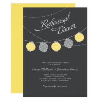 """Linternas de papel grises amarillas de la cena el invitación 5"""" x 7"""""""