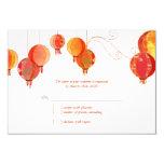 Linternas de papel modernas rojas que casan RSVP Invitación 8,9 X 12,7 Cm