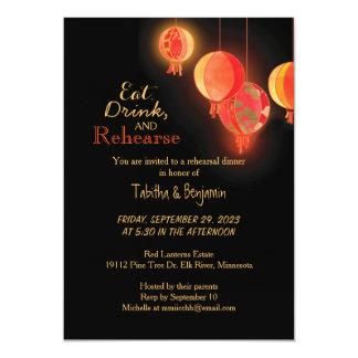 """Linternas de papel rojas de lujo que casan la cena invitación 5"""" x 7"""""""