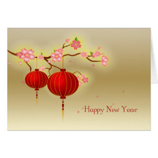 Linternas de papel rojas, flor rosado, Año Nuevo Tarjeta De Felicitación