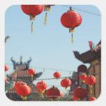 Linternas en Chinatown Calcomanía Cuadrada Personalizada