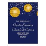 Linternas festivas con amarillo azul marino y invitación 12,7 x 17,8 cm