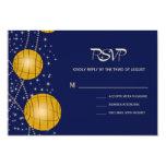 Linternas festivas con amarillo azul marino y invitación 8,9 x 12,7 cm