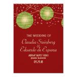 Linternas festivas con rojo y verde en colores invitación 12,7 x 17,8 cm