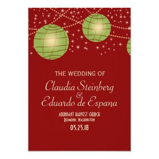 """Linternas festivas con rojo y verde en colores invitación 5"""" x 7"""""""