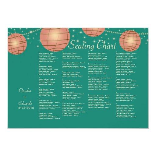 Linternas festivas con verde de mar en colores invitación 12,7 x 17,8 cm