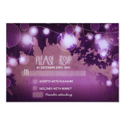 """linternas púrpuras de la noche que casan las invitación 3.5"""" x 5"""""""