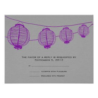 Linternas púrpuras y grises que casan RSVP Comunicados Personales
