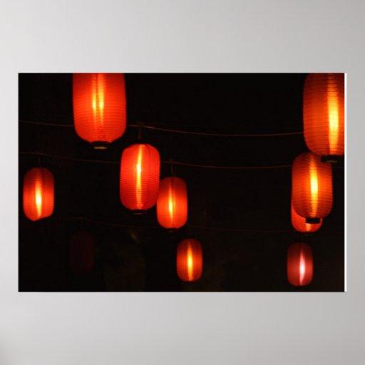 Linternas rojas de baile impresiones