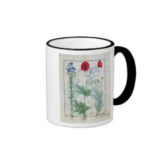 Linum, Garden poppies and Abrotanum Ringer Coffee Mug
