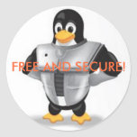 linux2, FREE AND SECURE! Round Stickers