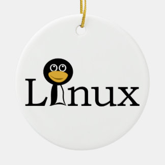 Linux Adorno Navideño Redondo De Cerámica