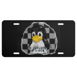LINUX CHECKERED STONE LICENSE PLATE