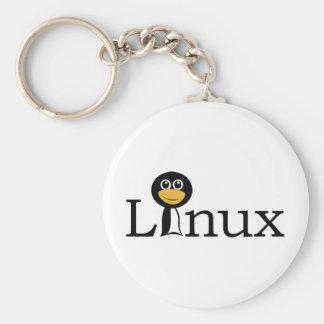Linux con el pingüino llavero redondo tipo pin