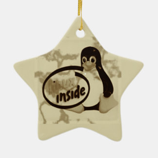 LINUX DENTRO de Tux el logotipo del pingüino de Adorno Navideño De Cerámica En Forma De Estrella