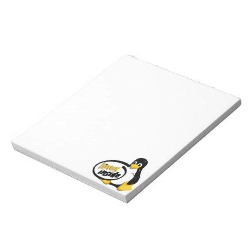 LINUX DENTRO de Tux el logotipo del pingüino de Bloc De Notas