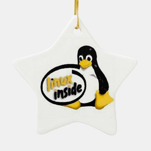 LINUX DENTRO de Tux el logotipo del pingüino de Ornamentos De Reyes Magos