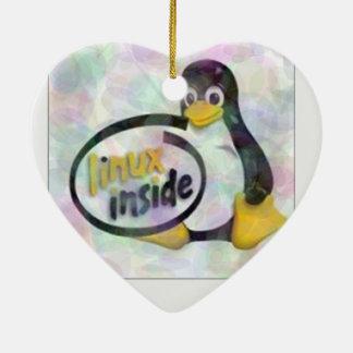 LINUX DENTRO de Tux el logotipo del pingüino de Ornamento De Reyes Magos