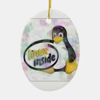 LINUX DENTRO de Tux el logotipo del pingüino de Ornamente De Reyes