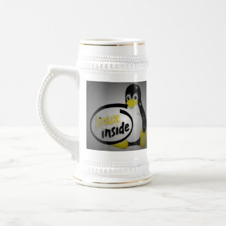 LINUX DENTRO de Tux el logotipo del pingüino de Jarra De Cerveza