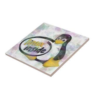 LINUX DENTRO de Tux el logotipo del pingüino de Li Azulejo Cuadrado Pequeño