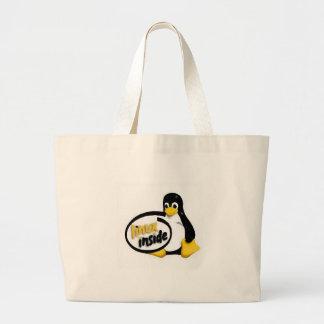 LINUX DENTRO de Tux el logotipo del pingüino de Li Bolsa Tela Grande