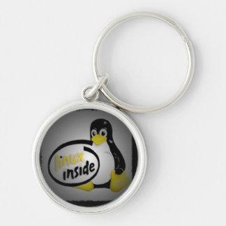 LINUX DENTRO de Tux el logotipo del pingüino de Li Llavero Redondo Plateado