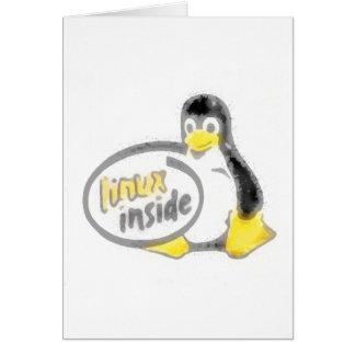 LINUX DENTRO de Tux el logotipo del pingüino de Li Tarjeta De Felicitación